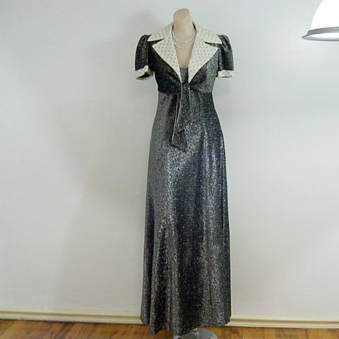 70s,Liquid,Silver,Maxi,Dress,and,Jacket,Set,Party,34b/30w,vintage, womens, clothing, dress, maxi, long, party, christmas, new years, silver, metallic, polka dots, 1970s, 70s, jacket, puffs, prettysweetvintage, sweetiepievintage, sweetie pie vintage
