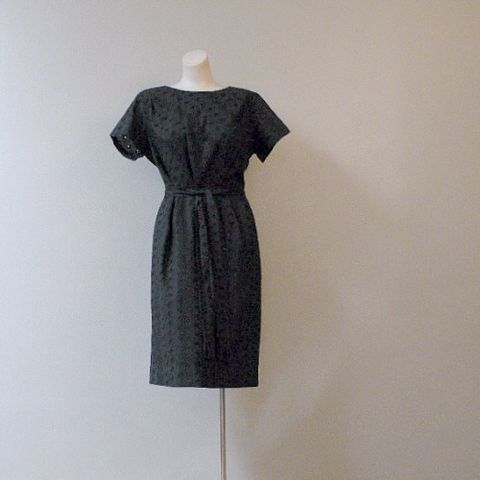 50s,Afternoon,Chic,Dress,40b/32w, 1950s, 60s, 1960s, vintage, womens, clothing, dress, eyelet, black, little, tassels, mad men, playboy club, pan am, cut-out, cotton, day, pretty sweet vintage, sweetiepievintage, sweetie pie vintage