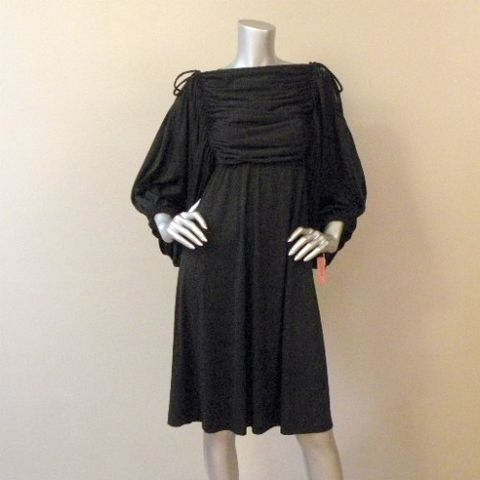 70s,Let's,Party,Dress,Small,32b, 1970s, vintage, womens, dress, black, little, billowy, open shoulders, jersey, gathered, ruched, party, trendy, prettysweetvintage, sweetiepievintage, sweetie pie vintage