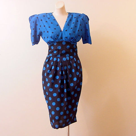 80s,Polka,Dot,Swing,Dress,37b/26w,1980s, 80s, 1940s, 40s, vintage, retro, black, royal blue, polka dots, padded, swing, pinup, queensofbohemia