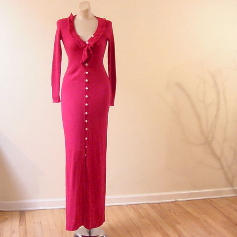 70s,Fuchsia,International,Boutique,Sweater,Dress,1960s, 60s, vintage, fuchsia, international boutiques, long, maxi, sweater, sweater dress, ribbed, acrylic, buttons, hong kong, small size, dress, sweetiepievintage, sweetie pie vintage, prettysweetvintage, bohemian, hippie