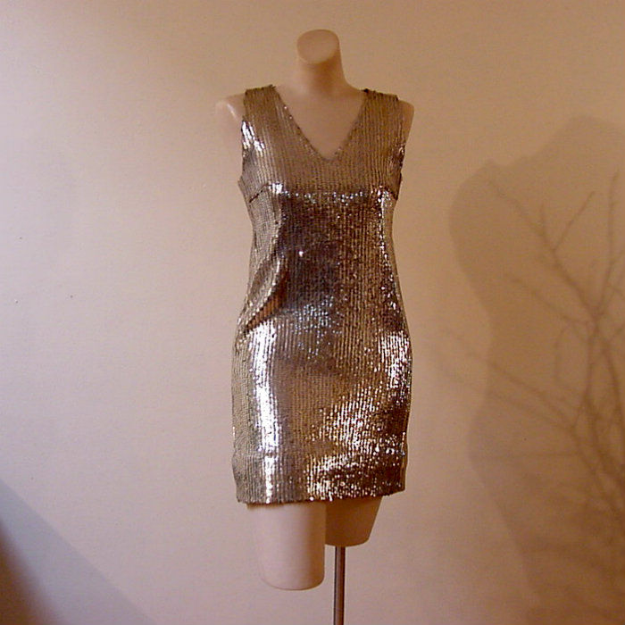 60s Gold Sequin Dress Small Pretty Sweet Vintage Product Image