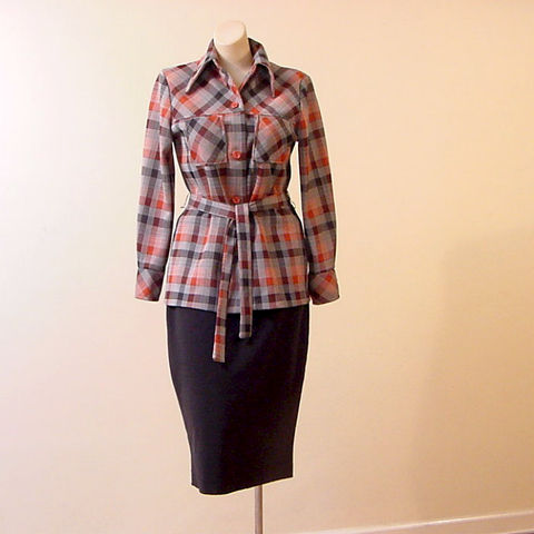 70s,Plaid,Belted,Top,38b,Medium,1970s, 70s, vintage, retro, hippie, shirt, top, blouse, plaid, sporty,
