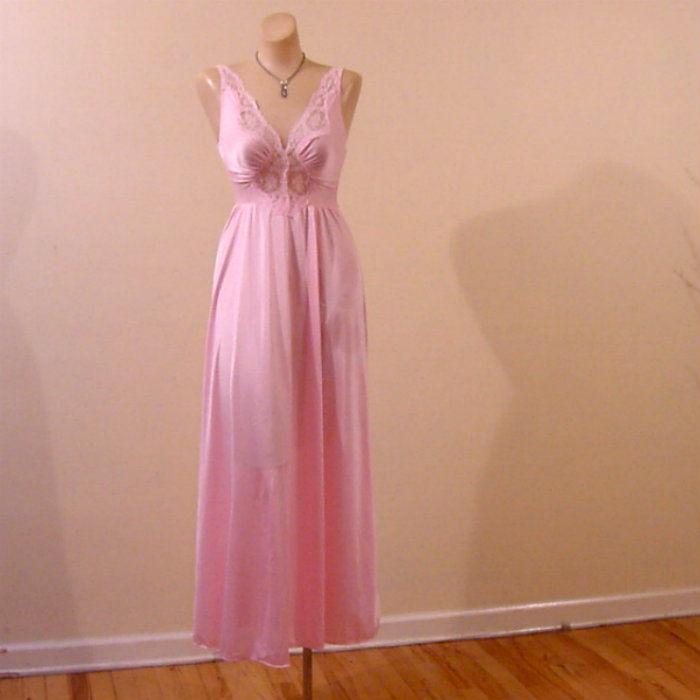 80s Pink Olga Bodysilk Gown Small - Pretty Sweet Vintage