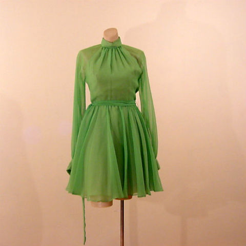 60s,70s,Neon,Green,Chiffon,Party,Dress,36b/23w,X-Small,1960s, 60s, 1970s, 70s, vintage, retro, costume, dance, dress, party, green, neon, lime, full skirt, swishy, chiffon, cocktail
