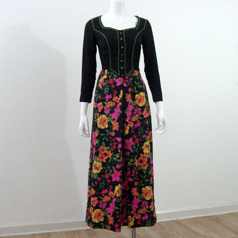 70s,Mikey,Jrs.,Hippie,Peasant,Dress,X,Small,1970s, 70s, vintage, retro, hippie, costume, peasant, boho, bohemian, dress, long, maxi, floral, fitted, Mikey Jrs, queensofbohemia