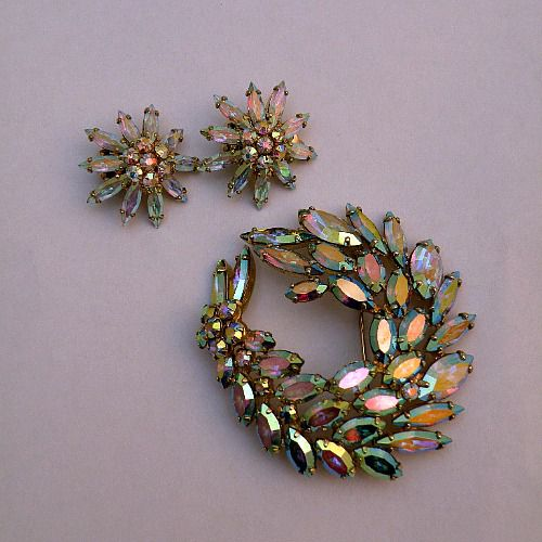 50s 60s Fire and Ice Sherman Brooch and Earrings - product image  