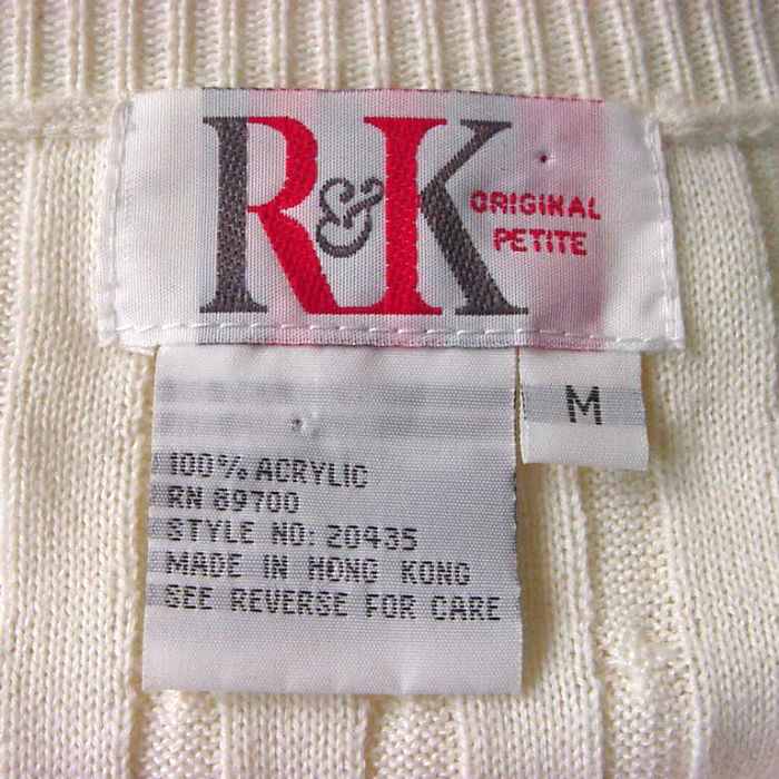 80s early 90s rampk originals cream sweater dress medium