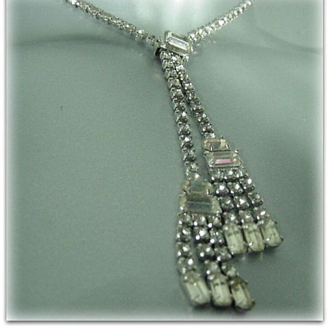 50s,60s,Drippy,Icy,Rhinestone,Lariat,Necklace,1950s, 50s, 1960s, 60s, vintage, drippy, icy, rhinestone, lariat, necklace, gift, party, prettysweetvintage, sweetiepievintage, sweetie pie vintage