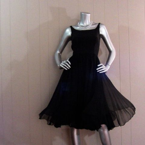 50s,60s,Gorgeous,Black,Chiffon,Pat,Sandler,Party,Dress,31b/24w,1950s, 50s, 1960s, 60s, vintage, pat sandler, highlight, black, chiffon, silk, full skirt, cyd charisse, bare, sexy, filmy, floaty, party, dance, cocktail, little black dress, Mad Men, prettysweetvintage, sweetiepievintage, sweetie pie vintage
