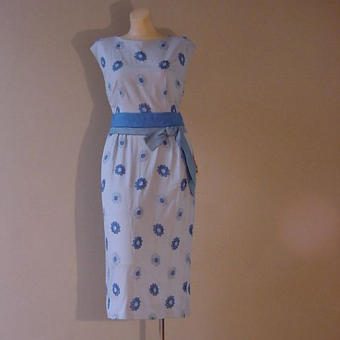 50s,Blue,Bouquet,Dress,36b/28w,1950s, 50s, 1960s, 60s, vintage, dress, party, garden, blue, flowers, embroidered, embroidery, rayon, Mad Men, prettysweetvintage, sweetiepievintage, sweetie pie vintage