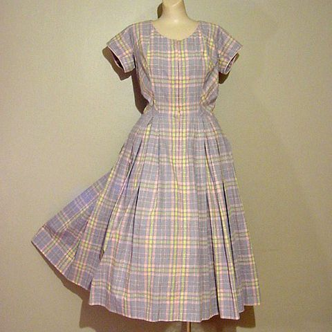 50s,Bright,Days,DeDe,Johnson,Dress,38b/28w,1950s, 50s, vintage, dress, day dress, DeDe Johnson, De De Johnson, sportswear, casual, pleats, pink, gray, yellow, plaid, prettysweetvintage, sweetiepievintage, sweetie pie vintage