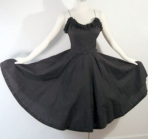 50s,Claudette,Dress,32b/25w,1950s, 50s, vintage, 1960s, 60s, dress, full, circle skirt, full skirt, ruffled, ruffles, pockets, dance, party, vlv, viva las vegas, kleiner, nipped waist, belt, prettysweetvintage, sweetiepievintage, sweetie pie vintage