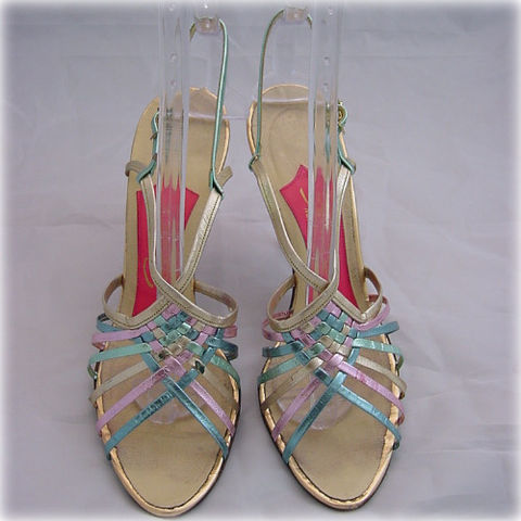 50s,Multi-Colored,Strappy,Schiaparelli,Stiletto,High,Heel,Shoes,8,1950s, 50s, vintage, schiaparelli, stiletto, high heels, shoes, sandals, multi-colored, strappy, braided, metallic, foil, pink, green, blue, gold, leather, sexy, holiday, party, pretty sweet vintage, sweetiepievintage, sweetie pie vintage