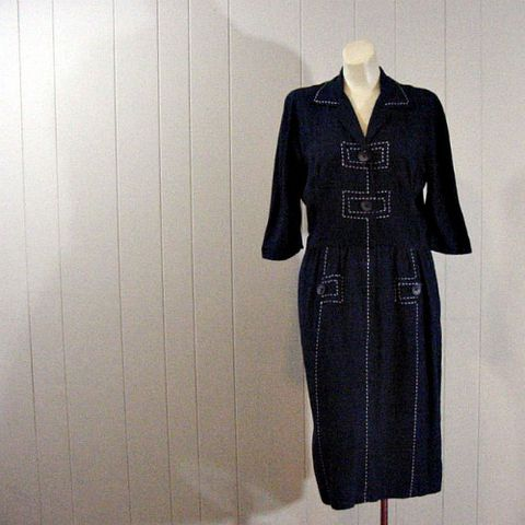50s,Navy,Silk,Carlye,Day,Dress,40b/30w,1950s, 50s, vintage, dress, day, Carlye, silk, navy, stitching, big buttons, prettysweetvintage, sweetiepievintage, sweetie pie vintage