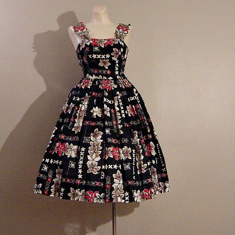 50s,Summer,Luau,Dress,36b/23w,1950s, 50s, vintage, dress, party, luau, hawaiian, full skirt, tiki, flowers, floral, print, black, red, Candy Jones, summer, sun dress, prettysweetvintage, sweetiepievintage, sweetie pie vintage