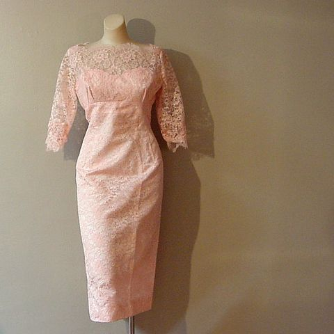 50s,60s,Wedding,in,Pink,Dress,40b/30w,1950s, 50s, 1960s, 60s, mad men, vintage, dress, wedding dress, bridesmaid dress, pink, lace, taffeta, curvy, sweetheart, medium, prettysweetvintage, sweetiepievintage, sweetie pie vintage