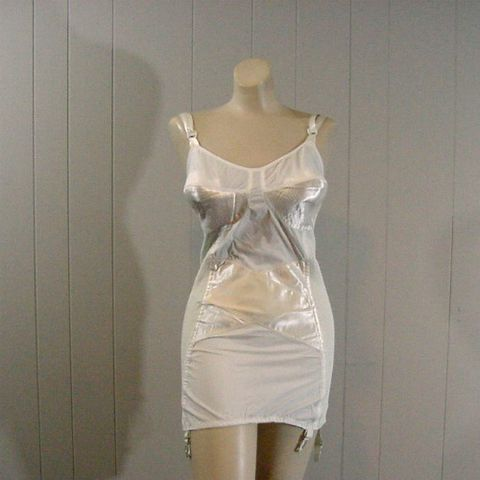 50s,White,Satin,&,Rubber,All,in,One,Open,Bottom,Girdle,40C/b,1950s, 50s, vintage, foundation, girdle, open bottom, all-in-one, all in one, shaper, bullet bra, circle stitch, satin, rubber, white, naturflex, lingerie, pretty sweet vintage, sweetiepievintage, sweetie pie vintage