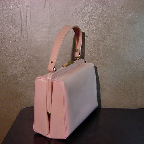 60s,Audrey,Loves,Pink,Handbag,1960s, 60s, vintage, Creations by International, pink, leather, faux leather, piping, gold, mirror, purse, bag, handbag, Mad Men, Pan Am, pretty sweet vintage, sweetiepievintage, sweetie pie vintage