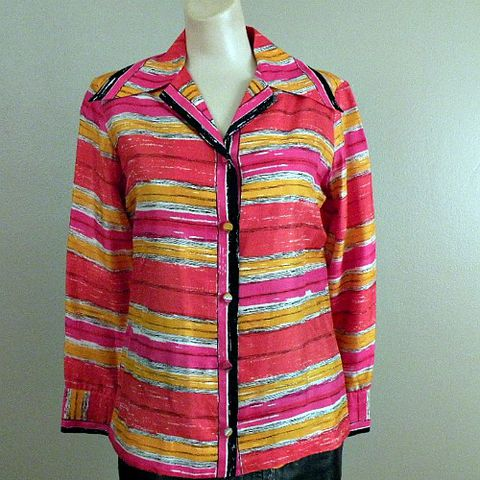 60s,Abstract,Striping,VERA,Blouse,40b/35w, 1960s, vintage, Vera, scarves by Vera, silk, ladybug, stripes, blouse, top, multi-color, collector, gift, prettysweetvintage, sweetiepievintage, sweetie pie vintage