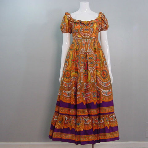 60s,Emma,Domb,Sweet,Hippie,Maxi,Dress,Small,1960s, 60s, vintage, retro, dress, maxi, hippie, bohemian, gypsy, flounce, india, indian, cotton, full skirt, petticoat, psychedelic