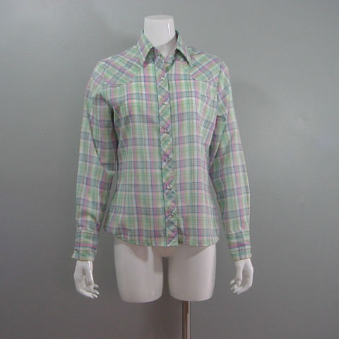 80s,Wrangler,Pastel,Plaid,Western,Shirt,38b,1980s, 80s, vintage, Wrangler, Levis, shirt, top, western, retro, plaid, pastel, mother of pearl, snap buttons