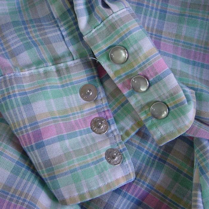 80s wrangler pastel plaid western shirt 38b pretty sweet vintage. Black Bedroom Furniture Sets. Home Design Ideas