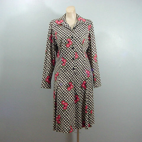 70s,Andrea,Gale,Posey,Dress,Large,1970s, 70s, vintage, retro, dress, Andrea Gale, short, floral, houndstooth,