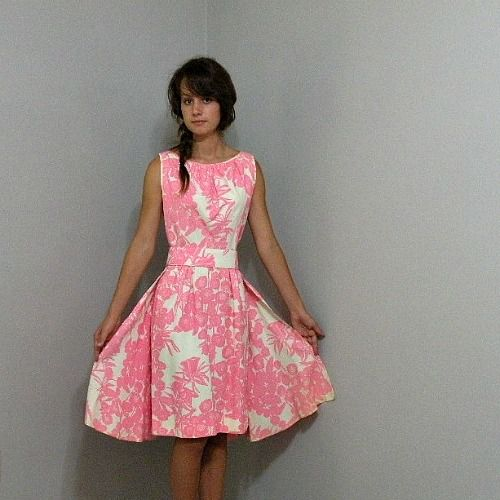 60s Pink Floral Dress With Train 36b 26w