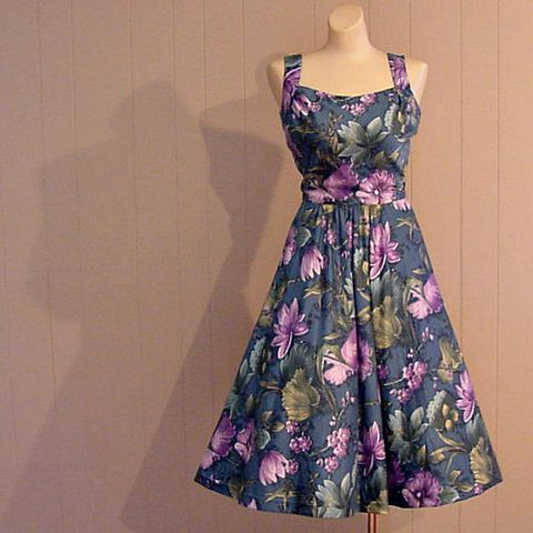 60s,Tropical,Harvey,Berin,Karen,Stark,Sun,Dress,34b/24w,1950s, 50s, 1960s, 60s, mad men, vintage, dress, party, tropical, full skirt, harvey berin, karen stark, sun dress, summer, small, cotton, polished cotton, prettysweetvintage, sweetiepievintage, sweetie pie vintage