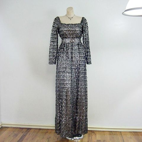 70s,Anne,Fogarty,A.,F.,Boutique,Glittery,Maxi,Party,Dress,36b/32w,anne fogarty, a.f. boutique, sequins, maxi, long, glittery, metallic, silver, black, party, christmas, new years, 1970s, 70s, designer, holiday, empire, dress, prettysweetvintage, sweetiepievintage, sweetie pie vintage