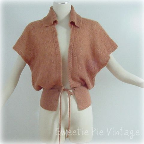 70s,English,Village,Coral,Salmon,Sweater,Small,1970s, 70s, vintage, english village, coral, salmon, sweater, shrug, knit, angora, open weave, gift, prettysweetvintage, sweetiepievintage, sweetie pie vintage