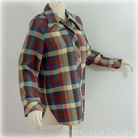70s,H,Bar,C,California,Ranchwear,Plaid,Shirt,40b,vintage, shirt, jacket, plaid, h bar c, california ranchwear, lumberjack, cowgirl, wool, christmas gift, 1970s, 70s, prettysweetvintage, sweetiepievintage, sweetie pie vintage