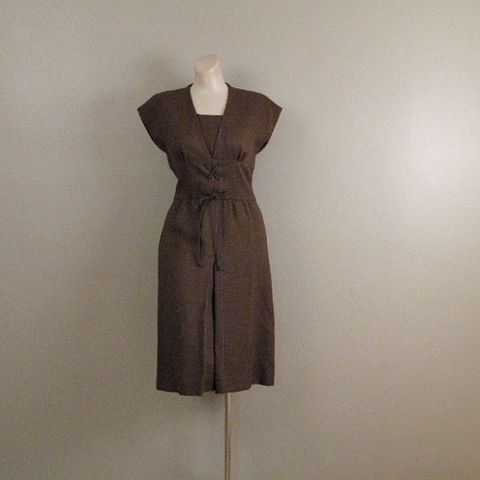 70s,Mollie,Parnis,Chocolate,Bar,Dress,34b/28w,1970s, 70s, vintage, dress, day, career, Mollie Parnis, Morty Sussman, brown, chocolate, new, cummerbund, corset, prettysweetvintage, sweetiepievintage, sweetie pie vintage