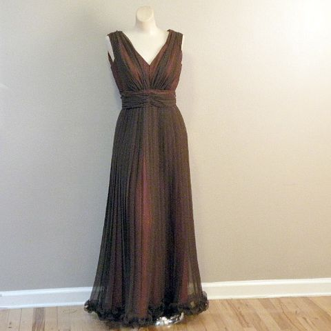 70s,Winter,Fire,Evening,Dress,36b/29w, 1970s, vintage, dress, evening, party, chiffon, chocolate, brown, rust, pleats, lettuce edge, parfait, cummerbund, small, medium, sweetie pie vintage, sweetiepievintage, prettysweetvintage