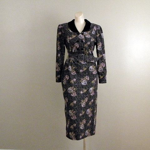 80s,Professional,Elegance,Dress,38b/30w,1980s, 80s, vintage, dress, corduroy, pinwale, Laura Ashley, Great Britain, velvet, roses, paisley, professional, romantic, sweetie pie vintage, sweetiepievintage, prettysweetvintage