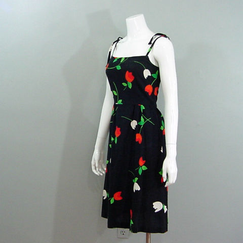 7Os,Malia,Summer,Dress,X-Small,1970s, 70s, vintage, retro, dress, Malia, Hawaiian, Hawaii, floral, black, tulips, summer