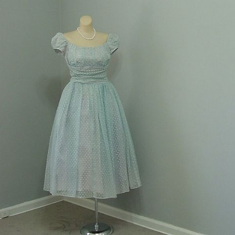 50s,Blue,Party,Dress,w/,Flocked,Bows,35b/26w,1950s, 50s, vintage, dress, party, prom, blue, pink, lavender, flocked, bows, full skirt, ruched, puffed sleeves, crinoline, prettysweetvintage, sweetiepievintage, sweetie pie vintage