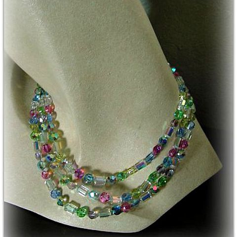 50s,60s,Hard,Candy,Glass,Bead,Necklace,vintage, hard candy, glass, beads, aurora borealis, three strand, colored, beveled, necklace, party, gift, prettysweetvintage, sweetie pie vintage, sweetiepievintage, 1950s, 50s, 1960s, 60s