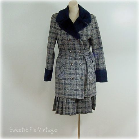 70s,Funky,Douglas,Marc,Plaid,Skirt,Suit,36b/30w,womens, vintage, clothing, suit, skirt, jacket, plaid, douglas marc, 1970s, 70s, pleats, navy blue, faux fur, career, office, funky, double breasted, prettysweetvintage, sweetiepievintage, sweetie pie vintage
