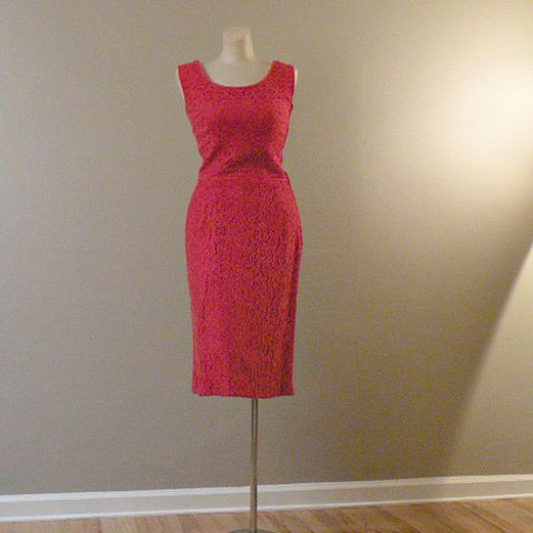 60s,Ripe,Tomato,Cocktail,Dress,37b/25w,1960s, 60s, vintage, tomato red, lace, cocktail, dress, Joan, Mad Men, party, holiday, Christmas, Valentine's Day, prettysweetvintage, sweetiepievintag,e sweetie pie vintage