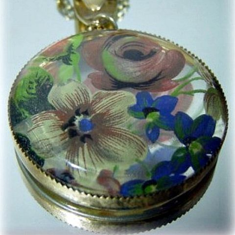 70s,Romantic,Painted,Glass,Necklace,necklace, pendant, painted glass, silkscreen, 70s, vintage, romantic, hippie-girl, glass, gift, hippie, boho, bohemian, retro, 1970s, prettysweetvintage, sweetie pie vintage, sweetiepievintage