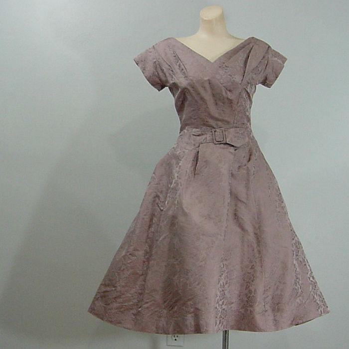 ff084ae3f2e 50s Adele Simpson Silk Taffeta Party Dress X-Small 34b 24w - product image