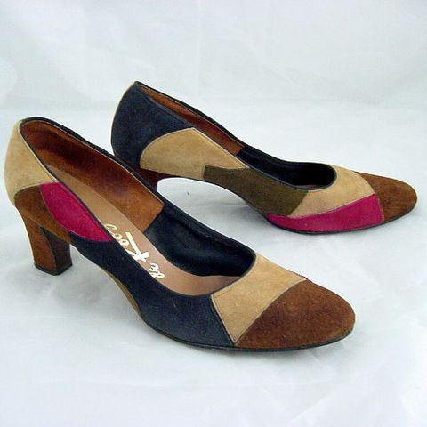 SALE!,70s,de,Roose,Patchwork,Suede,High,Heel,Shoes,8,1970s, 70s, vintage, shoes, high heels, pumps, de roose, suede, career, patchwork, multi-colored, navy, tan, brown, burgundy, sweetiepievintage, sweetie pie vintage, prettysweetvintage.