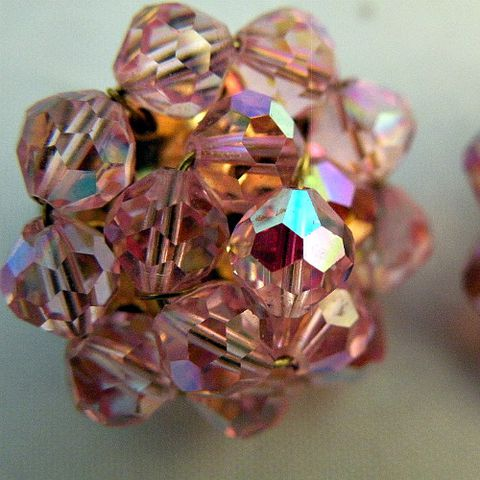 50s,60s,Glitter,Pink,Earrings,vintage, 1950s, 50s, 1960s, 60s, earrings, clip back, clip on, pink, peach, aurora borealis, beads, glass, sweetiepievintage, sweetie pie vintage, prettysweetvintage