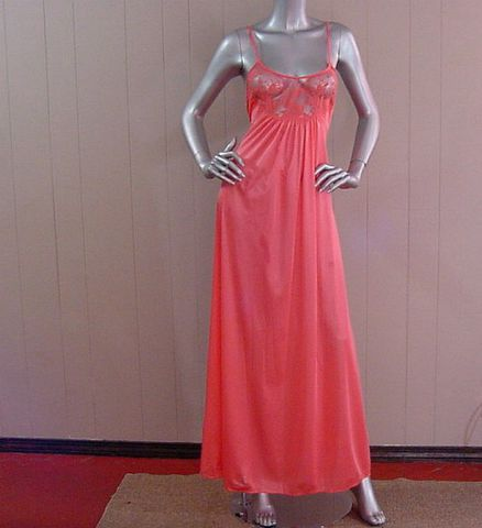 70s,80s,Coral,Peach,Flair,Gown,S/M,vintage, clothing, lingerie, gown, nightgown, flair, coral, long, lace, 1970s, 70s, nylon, shimmer, sweetiepievintage, sweetie pie vintage, prettysweetvintage