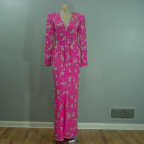 80s Lillie Rubin Beaded Fuchsia Bohemian Long Dress Small - Pretty ...