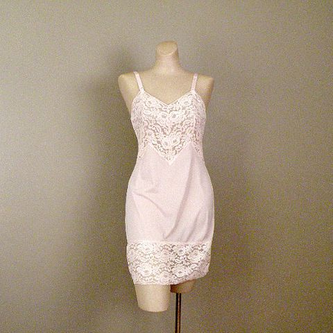 70s,Pink,Mini,Slip,by,Aristocraft,Small,1970s, 70s, vintage, lingerie, slip, full, pink, lacy, nylon, Aristocraft, sweetiepievintage, sweetie pie vintage, prettysweetvintage