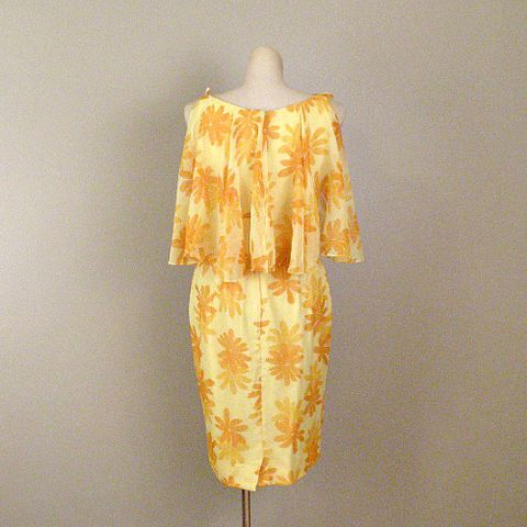60s,Juicy,Sunshine,Cocktail,Dress,Small,1960s, 60s, vintage, womens, clothing, dress, cocktail, citrus, bright, floral, yellow, orange, chiffon, capelet, sweetiepievintage, sweetie pie vintage, prettysweetvintage
