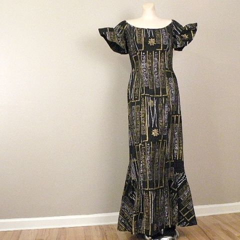 50s,Luau,Princess,Surf,'n,Sand,Shaheen,Dress,37b/28w,vintage, retro, clothing, womens, dress, maxi, long, Shaheen, Alfred Shaheen, Surf 'n Sand, hand printed, mermaid, asian, 1950s, 50s, sweetiepievintage, sweetie pie vintage, prettysweetvintage, luau, tiki, queensofbohemia